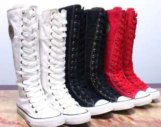 PUNK EMO Gothic Lace Up Canvas Boot Sneaker Knee High