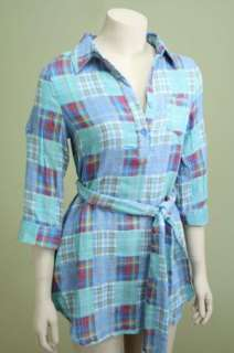 PLAID Country Western bohemian Prairie Top Shirt Tunic