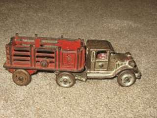 AWESOME ANTIQUE CAST IRON TRUCK & TRAILER