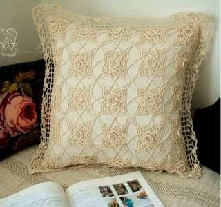 Vintage Hand 3D Crochet EcruCotton Cushion/Pillow Cover