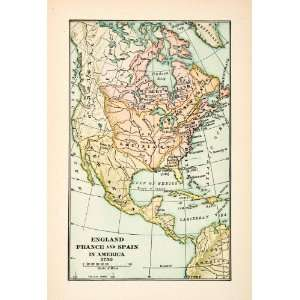 1921 Print Map Pre Independence North America Europe