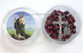 Wood Beads Prayer Wooden Rosary Necklace Crucifix Jesus Boxed