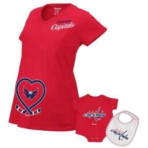 Washington Capitals Womens Red Team Affection Maternity T Shirt Set