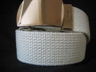 Size Small WHITE Canvas Web Belt Strap Buckle Army Military Mens