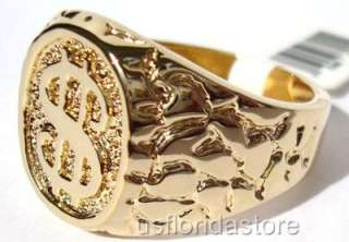 Dollar Sign Logo 18kt Gold Plated Mens Ring New