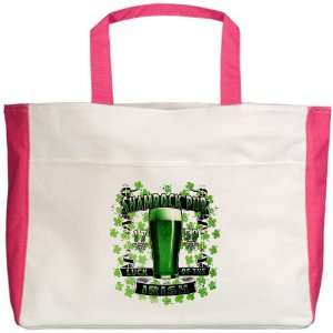 Beach Tote Fuchsia Shamrock Pub Luck of the Irish 1759 St