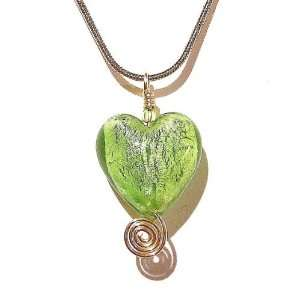 The Black Cat Jewellery Store Silver Lined Lime Green Heart Pendant w