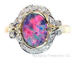 harlequin black opal 16 diamonds 14K gold ring rare floral Australian