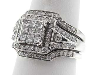 Genuine Diamonds Solid 14k White Gold Ring 3 Bands