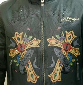 Christian Audigier Mens Biker Cross Motorcycle Lamb Leather Jacket L