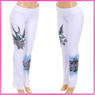 W143 – FLY LIKE A BIRD Graphic Tattoo Long Dress Pants