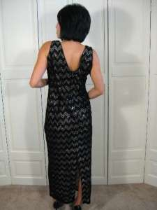 Vtg 80s Black VELVET Cut Out LACE Silver SEQUIN Deco Flapper Party