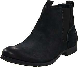 Calvin Klein Mens Abe Black Suede Casual Pull on Fashion Ankle Boots