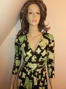 NEW $325 KAY UNGER Green Brown SILK Dress 4 NWT GORGEOUS