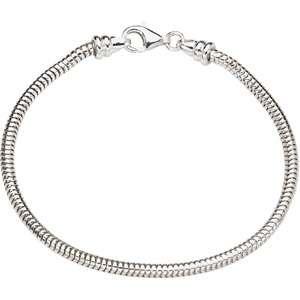 Kera Sterling Silver Snake Bead Charm Bracelet 7.5 inch