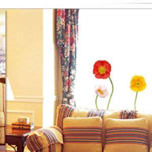 Poppy Flower Adhesive Wall Art STICKER Removable Decal