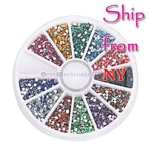 3000 Nail Art Glitter Tips Rhinestones Round Gems 2.0mm Wheel 12 Color