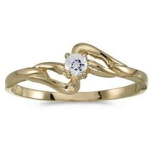 14K Yellow Gold 3 MM White Topaz Fashion Ring Katarina Jewelry
