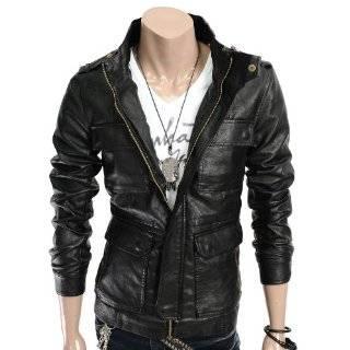 Doublju Mens Casual Motorcycle Leather Jacket (GA18) Clothing