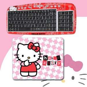 USB Keyboard with Hot Keys #90309K (Red) + Hello Kitty 3D Mouse Pad