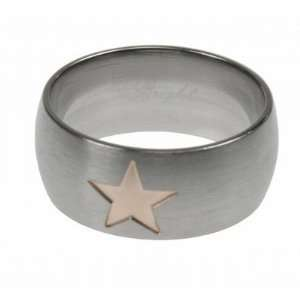 316L Stainless Steel Laser Cut Ring with Matte finish   Star   Width