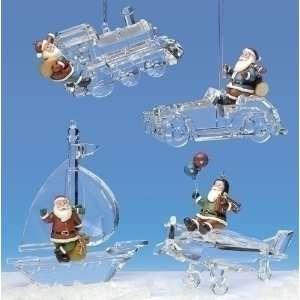 Pack of 8 Icy Crystal Santa Claus Transportation Christmas