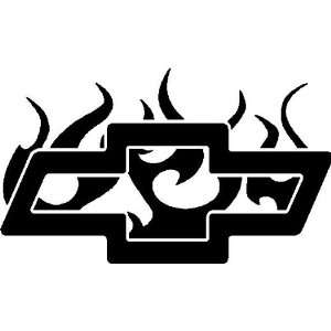 Chevy Logo in Flames 5 Inch White Decal Sticker: Everything Else