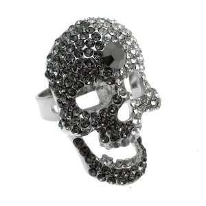 Jewellery   Shadow Grey & Clear Crystal   Fashion Skull Ring Jewelry