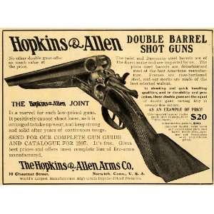 Hopkins Allen Arms Damascus Double Barrel Shot Guns Hunting Firearms