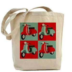 Red Blue Vespa Scooter Vintage Tote Bag by