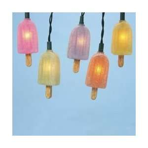 Set of 10 Frosted Multi Colored Popsicle Novelty Christmas Lights