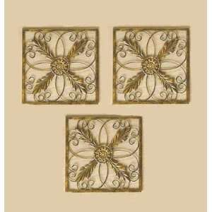 Square Antiqued Gold Wall Grilles Home Decor Accent