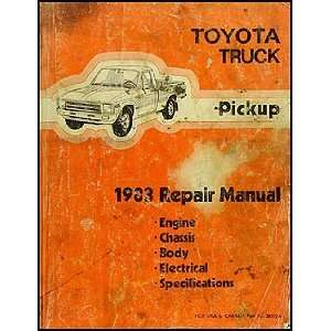 1983 Toyota Pickup Truck Repair Shop Manual Original Toyota Books