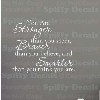YOU ARE STRONGER BRAVER SMARTER Quote Vinyl Wall Decal WINNIE THE POOH