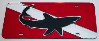 Shark Mirror Dive Flag License Plate Scuba Tag MAKO