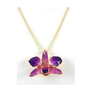 REAL FLOWER Gold Orchid Necklace Pendant Purple Pink Jewelry