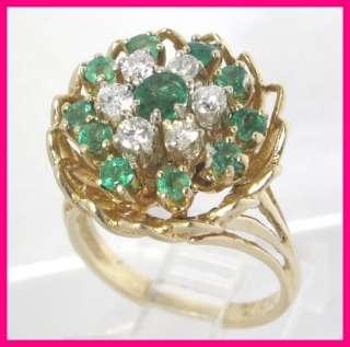 14k Diamond & Green Emerald Cluster Estate Ring 1.18ct