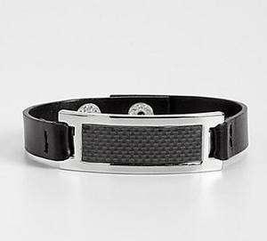 Mens Black Leather Bracelet with Carbon Fiber Plaque (BNWT)