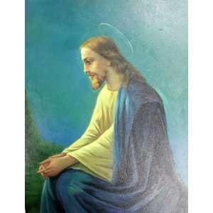 JESUS CHRIST Praying in Garden of Gethsemane Icon Oil Painting Canvas