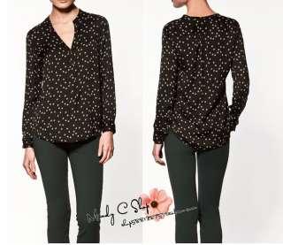 2012 New Zara Fashion Star Print Vintage Soft Touch Tops Blouse Shirt