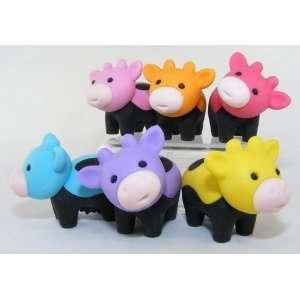 6pcs Japanese Iwako Erasers Black Feet Cow Toys & Games