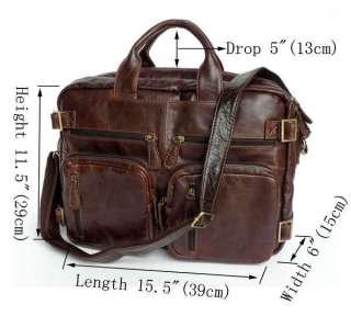 Vintage Leather Mens Briefcase Laptop Dispatch Travel Backpack BagT