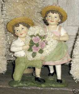 Boy & Girl with Heart Valentine Figure by KD Vintage