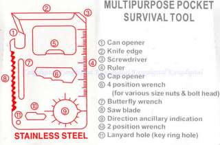 Multipurpose Pocket Survival Tool Stainless Steel x 1 Leather Case x
