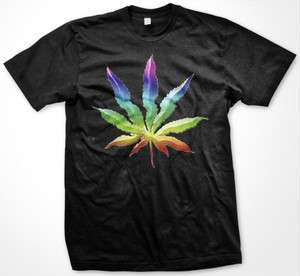 Psychedelic Rainbow Marijuana Leaf Womens Ladies T Shirt Weed Pot