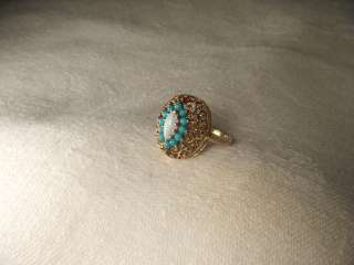 Estate 14K Pink Rose Gold Filigree Opal Turquoise Ring