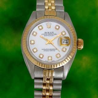 Rolex Ladies Datejust Two Tone Gold Steel Diamond Watch
