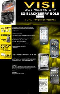 6X Visi Clear ULTRA THIN BlackBerry Bold 9900 Screen Protector