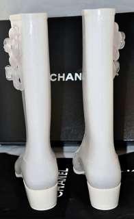 Chanel Sparkling White Camellia Flower Chanel Rainboots Boots CC Logo