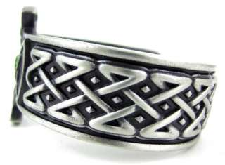 Pewter Celtic Cross Shield Cuff Bracelet Green Stones